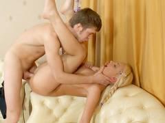 Seducing blonde girl on the hard anal video